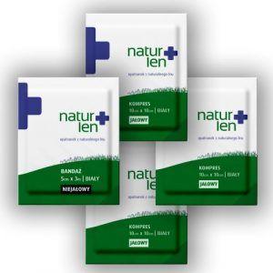 Pakiet na 10 dni leczenia kompresy lniane jałowe 10 x 10 cm białe 10 szt. bandaż 5 cm x 3 m biały 3 szt.