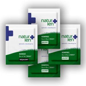 Pakiet na 10 dni leczenia kompresy lniane jałowe 5 x 5 cm białe 10 szt. bandaż 5 cm x 3 m biały 3 szt.