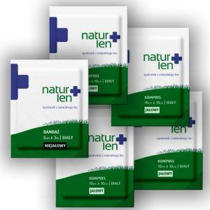 Pakiet na 14 dni leczenia kompresy lniane jałowe 10 x 10 cm białe 14 szt. bandaż 5 cm x 3 m biały 5 szt.