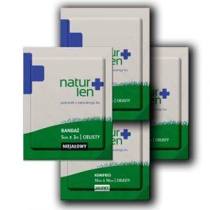Pakiet na 10 dni leczenia kompresy lniane jałowe 10 x 10 cm cieliste 10 szt. bandaż 5 cm x 3 m biały 3 szt.