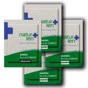 Pakiet na 10 dni leczenia kompresy lniane jałowe 5 x 5 cm cieliste 10 szt. bandaż 5 cm x 3 m biały 3 szt.