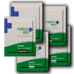 Pakiet na 14 dni leczenia kompresy lniane jałowe 10 x 10 cm cieliste 14 szt. bandaż 5 cm x 3 m biały 5 szt.