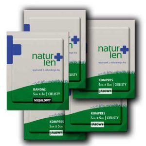 Pakiet na 14 dni leczenia kompresy lniane jałowe 5 x 5 cm cieliste 14 szt. bandaż 5 cm x 3 m biały 5 szt.
